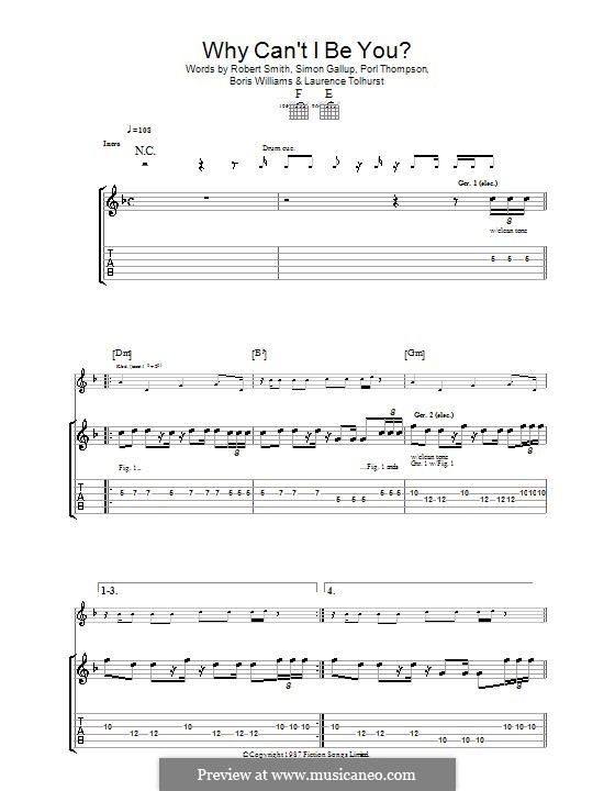 Why Can't I Be You? (The Cure): For guitar with tab by Boris Williams, Laurence Tolhurst, Porl Thompson, Robert Gary Smith, Simon Gallup