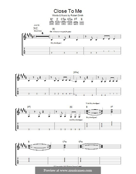 Close To Me (The Cure): For guitar with tab by Robert Gary Smith