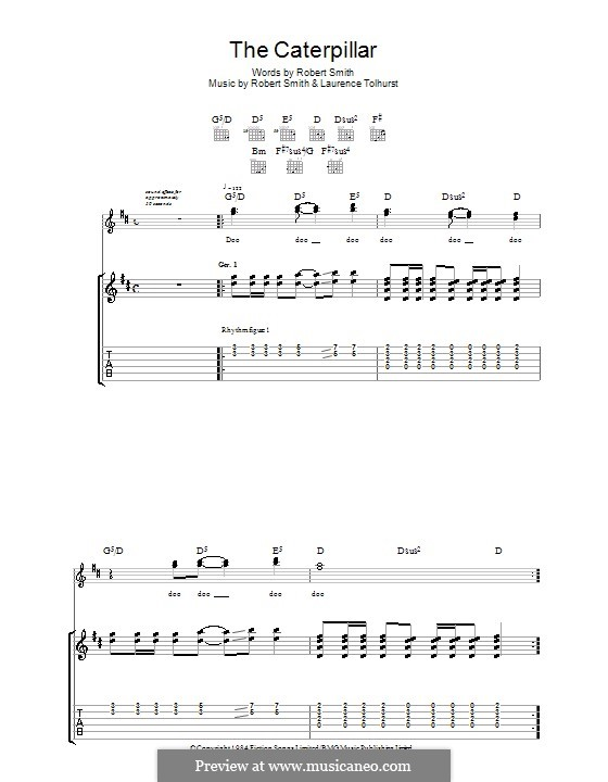 The Caterpillar (The Cure): For guitar with tab by Laurence Tolhurst, Robert Gary Smith