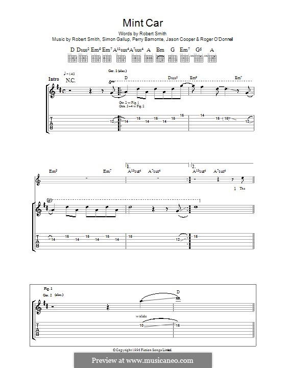 Mint Car (The Cure): For guitar with tab by Jason Cooper, Perry Bamonte, Robert Gary Smith, Roger O'Donnell, Simon Gallup