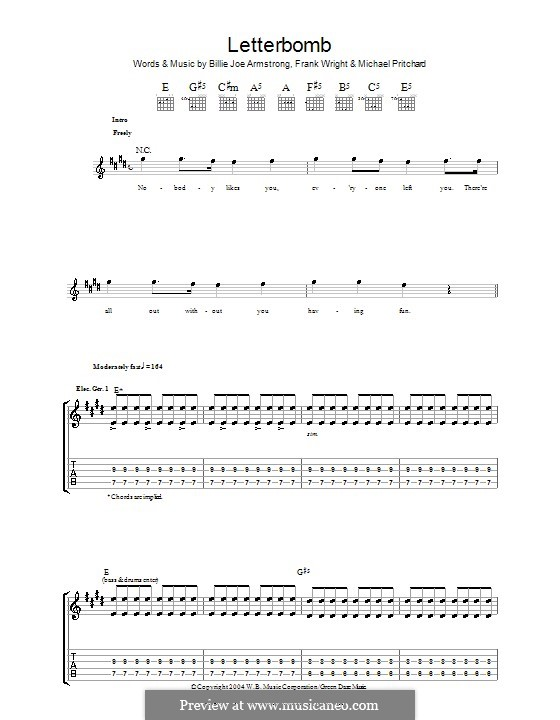 Letterbomb (Green Day): For guitar with tab by Billie Joe Armstrong, Tré Cool, Michael Pritchard