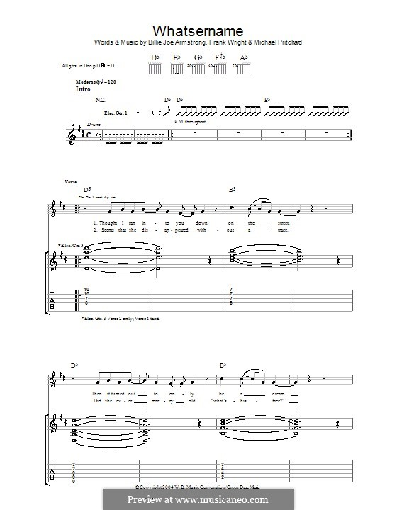 Whatsername (Green Day): For guitar with tab by Billie Joe Armstrong, Tré Cool, Michael Pritchard