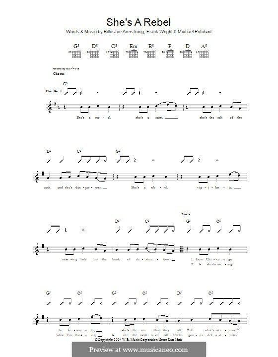 She's a Rebel (Green Day): For guitar with tab by Billie Joe Armstrong, Tré Cool, Michael Pritchard
