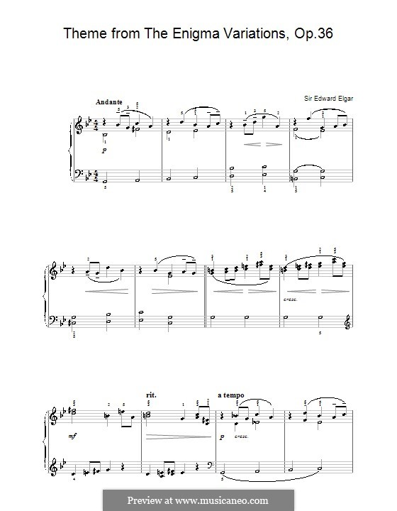 Fragments: Theme, for easy piano by Edward Elgar