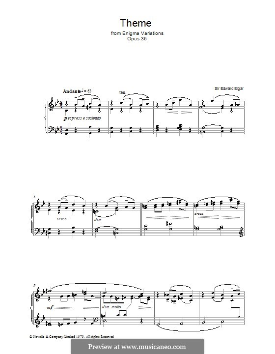Fragments: Theme, for piano by Edward Elgar