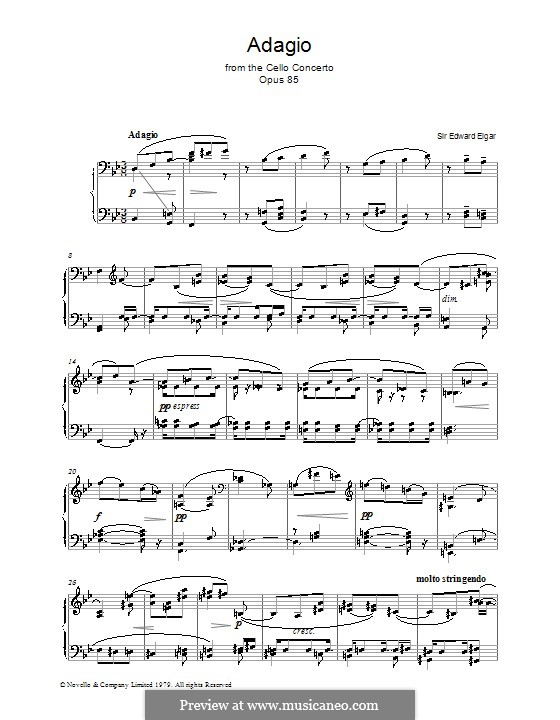 Concerto for Cello and Orchestra, Op.85: Movement III. Version for piano by Edward Elgar