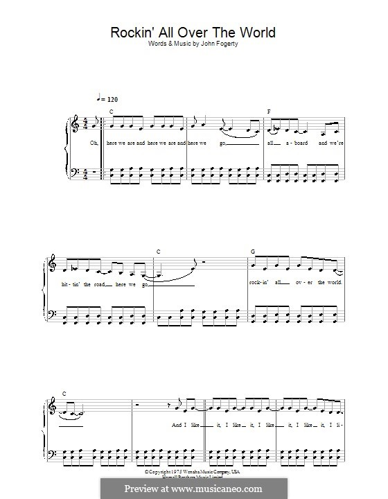 Rockin' All Over the World (Status Quo): For easy piano by John C. Fogerty