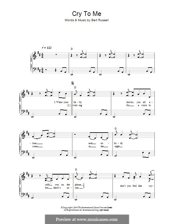Cry to Me (Solomon Burke): For easy piano by Bert Russell