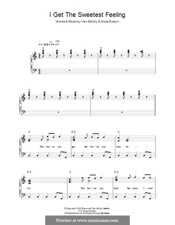 I Get the Sweetest Feeling (Jackie Wilson): For easy piano by Alicia Evelyn, Van McCoy