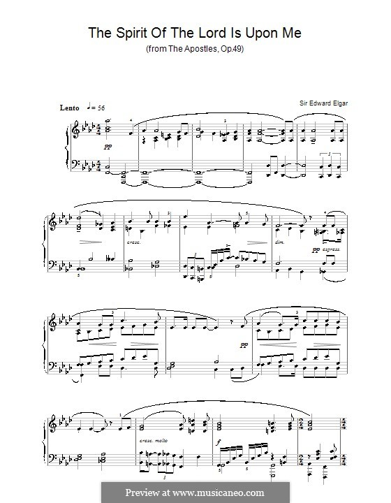 The Apostles, Op.49: Spirit of the Lord is upon Me, for piano by Edward Elgar