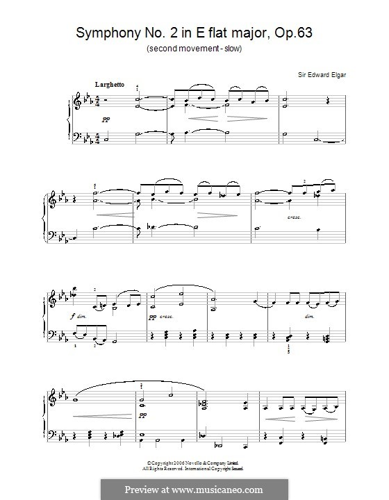 Symphony No.2 in E Flat Major, Op.63: Movement II. Version for piano by Edward Elgar