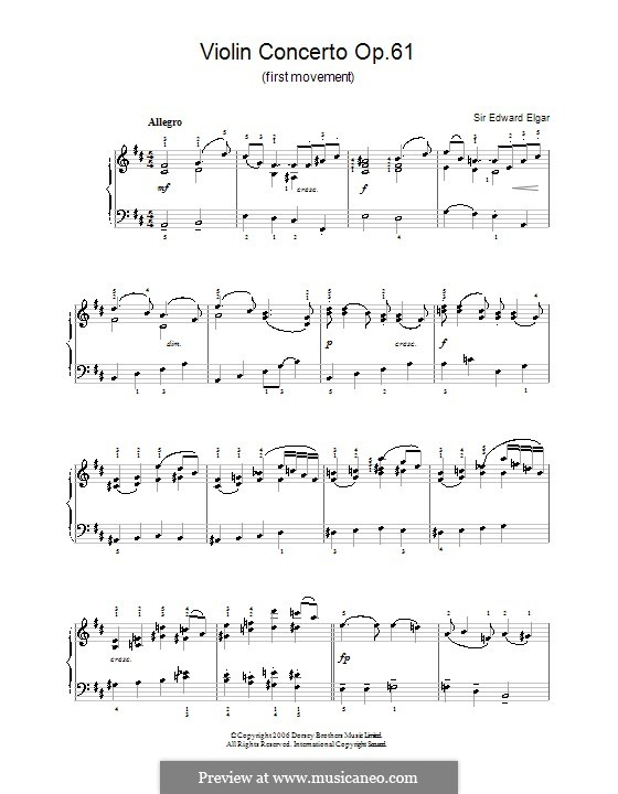 Concerto for Violin and Orchestra, Op.61: Movement I (Fragmnet). Version for easy piano by Edward Elgar