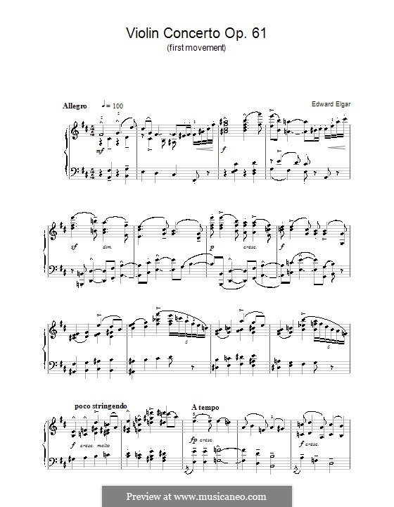 Concerto for Violin and Orchestra, Op.61: Movement I (Fragment). Version for piano by Edward Elgar