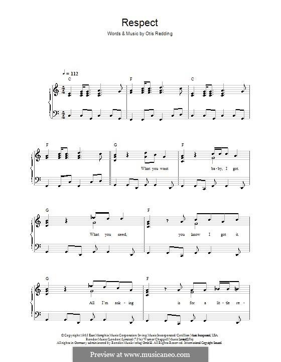 Respect (Aretha Franklin): For easy piano by Otis Redding