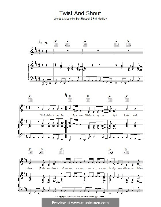 Twist and Shout (The Beatles): For voice and piano (or guitar) by Bert Russell, Phil Medley
