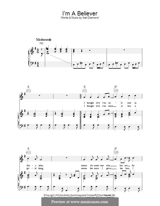 I'm a Believer: For voice and piano or guitar (G Major) by Neil Diamond