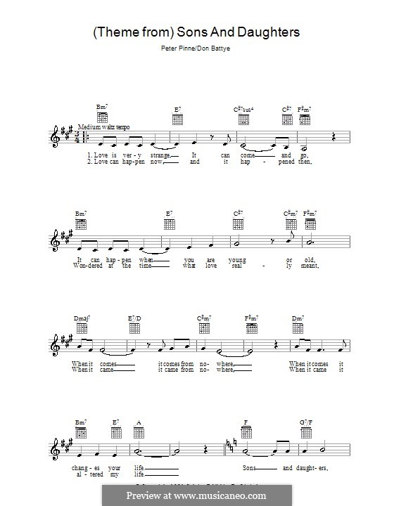 Theme from Sons and Daughters by D. Battye - sheet music on MusicaNeo