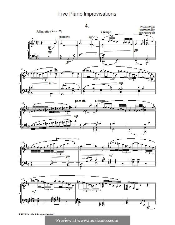 Five Piano Improvisations: No.4 Allegretto by Edward Elgar