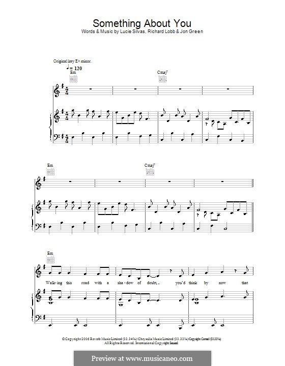 Something About You (Lucie Silvas): For voice and piano (or guitar) by John W. Green, Richard Lobb