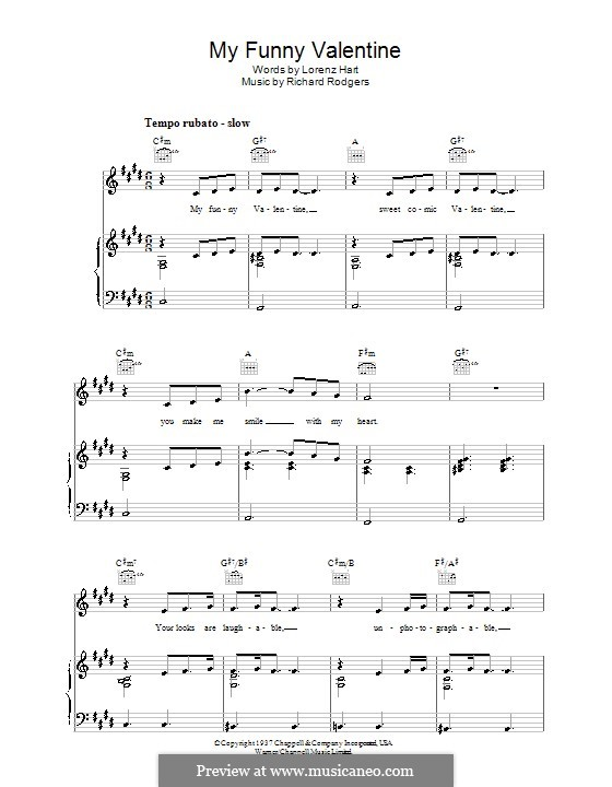 My Funny Valentine: For voice and piano or guitar (C Sharp Minor) by Richard Rodgers