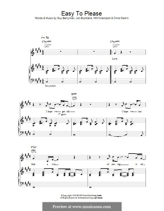 Easy to Please (Coldplay): For voice and piano (or guitar) by Chris Martin, Guy Berryman, Jonny Buckland, Will Champion