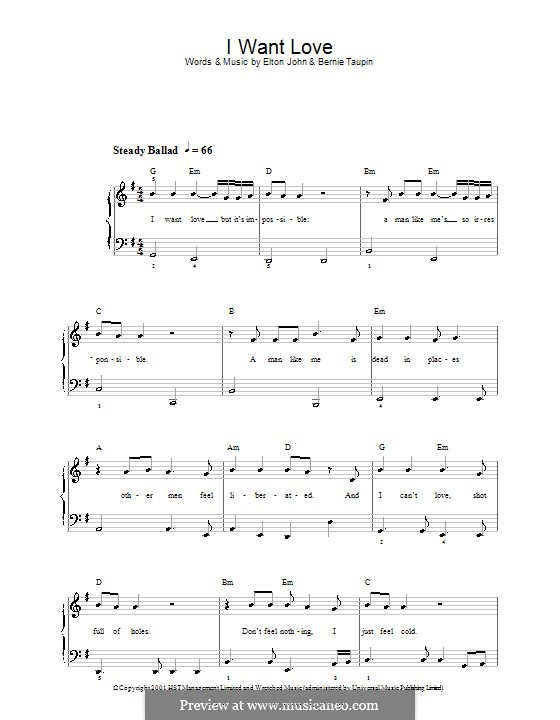 I Want Love: For easy piano by Elton John