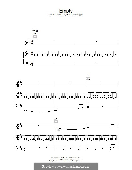 Empty: For voice and piano (or guitar) by Ray LaMontagne