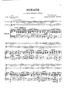 Sonata for Two Violins and Piano in G Major: Sonata for Two Violins and Piano in G Major by Jean Baptiste Loeillet of London