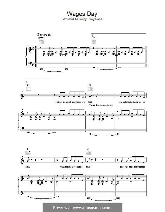 Wages Day (Deacon Blue): For voice and piano (or guitar) by Ricky Ross
