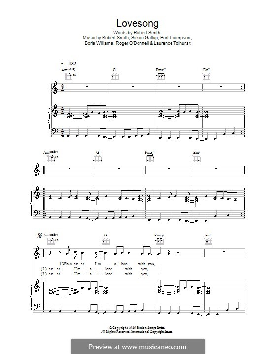 Lovesong (Adele): For voice and piano (or guitar) by Boris Williams, Laurence Tolhurst, Porl Thompson, Robert Gary Smith, Roger O'Donnell, Simon Gallup