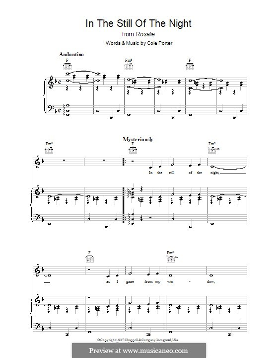 In the Still of the Night: For voice and piano (or guitar) by Cole Porter