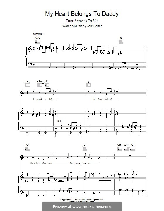 My Heart Belongs to Daddy: For voice and piano (or guitar) by Cole Porter