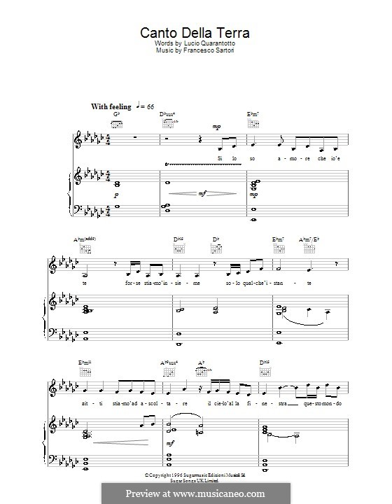 Canto della terra: For voice and piano or guitar (Katherine Jenkins) by Francesco Sartori