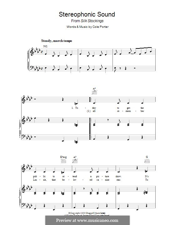 Stereophonic Sound: For voice and piano (or guitar) by Cole Porter