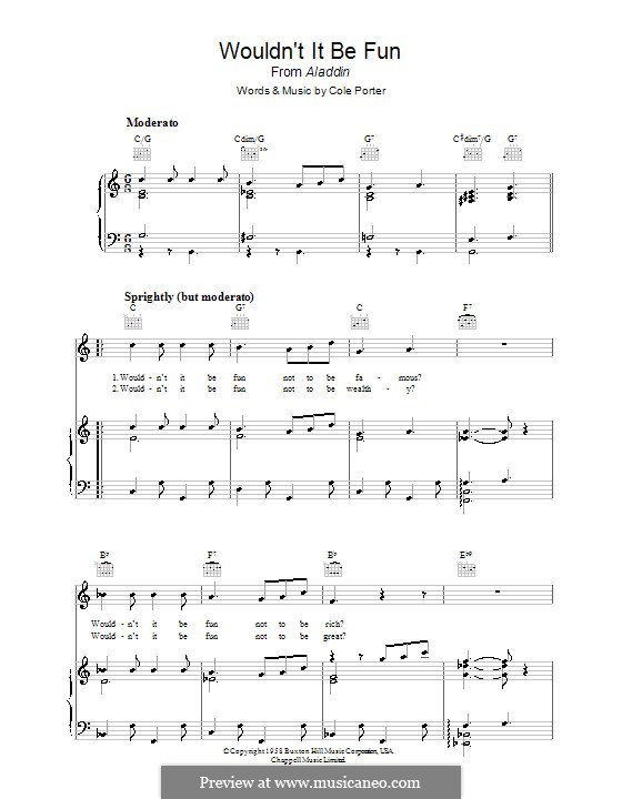 Wouldn't It Be Fun?: For voice and piano (or guitar) by Cole Porter