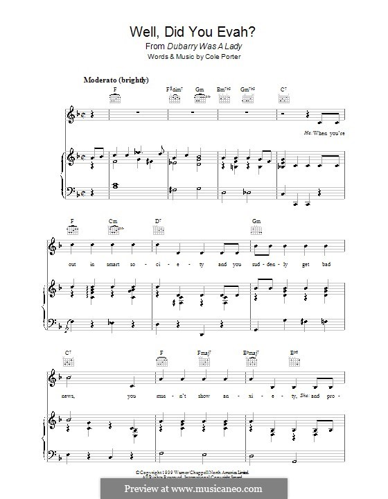 Well, Did You Evah: For voice and piano (or guitar) by Cole Porter