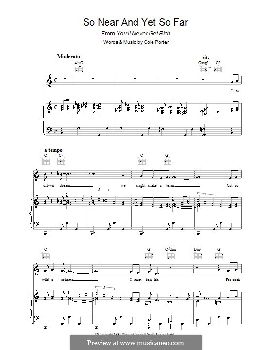 So Near and Yet So Far: For voice and piano (or guitar) by Cole Porter