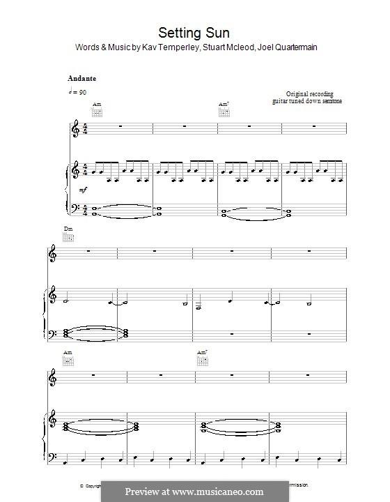 Setting Sun (Eskimo Joe): For voice and piano (or guitar) by Joel Quartermain, Kavyen Temperley, Stuart MacLeod