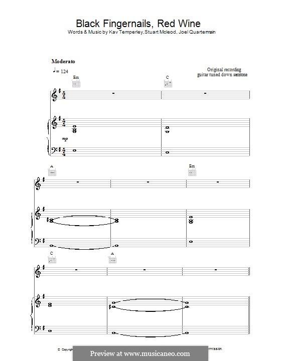 Black Fingernails, Red Wine (Eskimo Joe): For voice and piano (or guitar) by Joel Quartermain, Kavyen Temperley, Stuart MacLeod