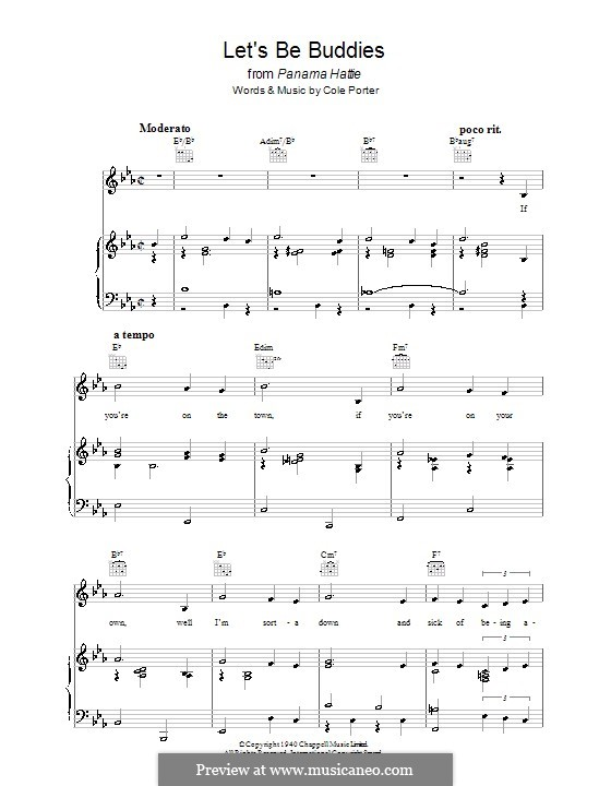 Let's Be Buddies: For voice and piano (or guitar) by Cole Porter