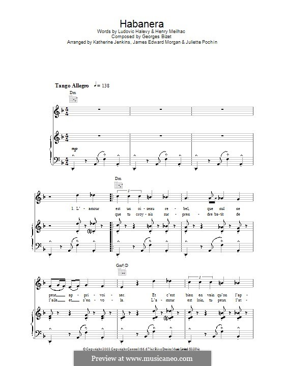 Habanera: For voice and piano (or guitar) by Georges Bizet