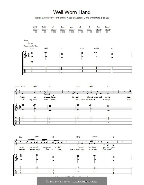 Well Worn Hand (Editors): For guitar with tab by Christopher Urbanowicz, Edward Lay, Russell Leetch, Thomas Henry Smith