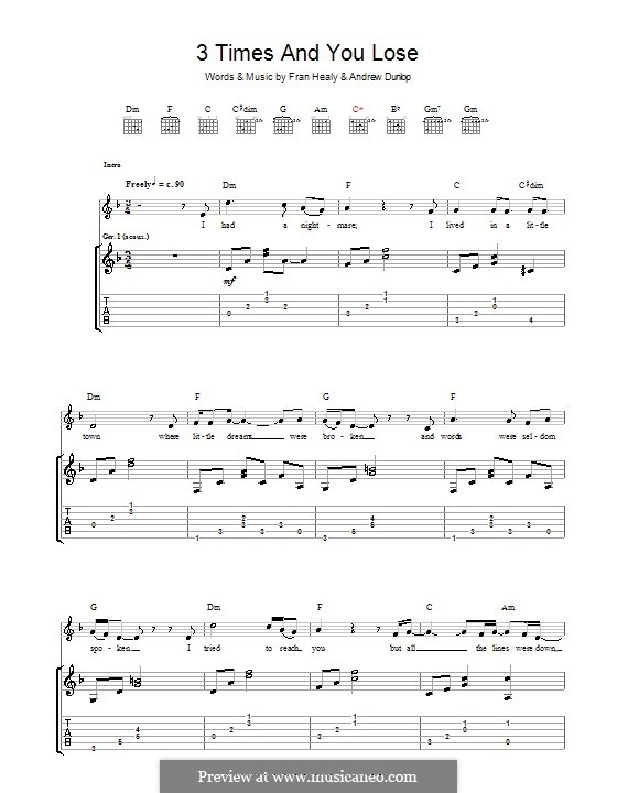 3 Times and You Lose (Travis): For guitar with tab by Andrew Dunlop, Fran Healy