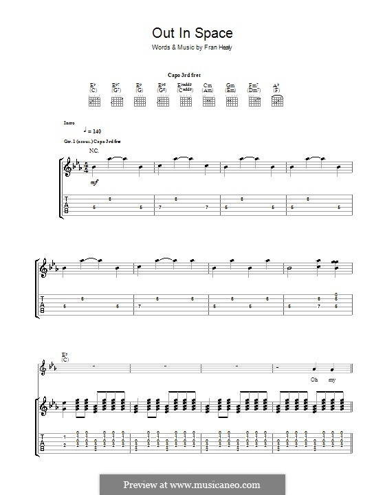 Out in Space (Travis): For guitar with tab by Fran Healy