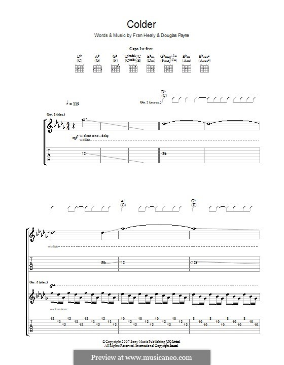 Colder (Travis): For guitar with tab by Douglas Payne, Fran Healy