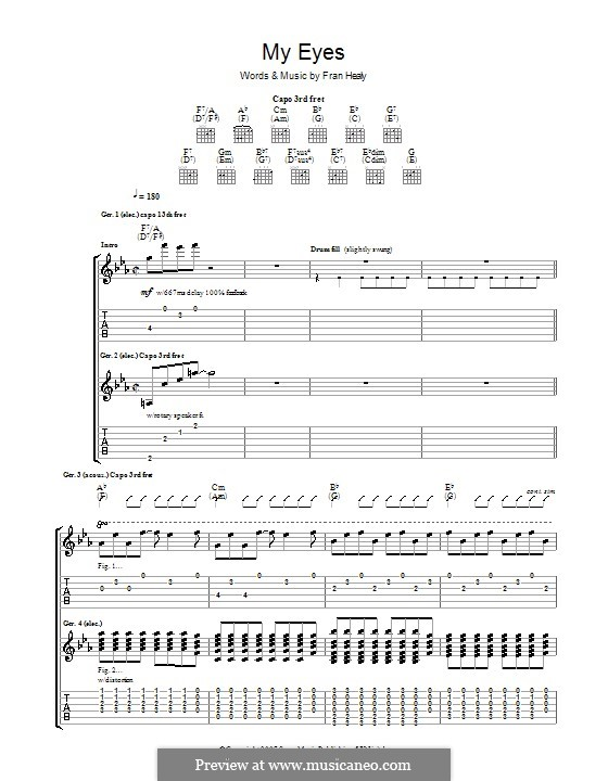 My Eyes (Travis): For guitar with tab by Fran Healy
