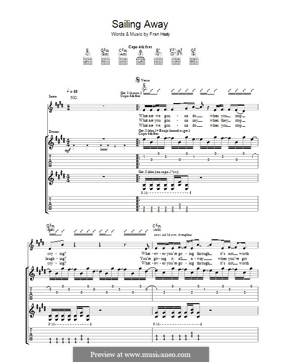 Sailing Away (Travis): For guitar with tab by Fran Healy