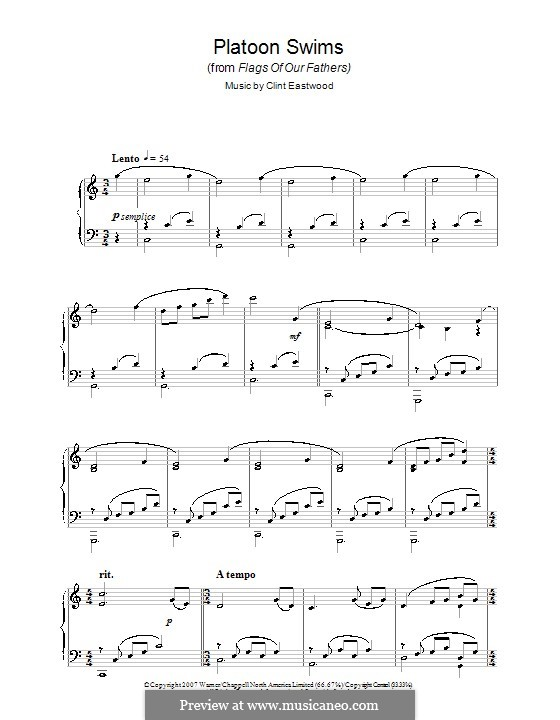 Platoon Swims (from Flags of Our Fathers): For piano by Clint Eastwood