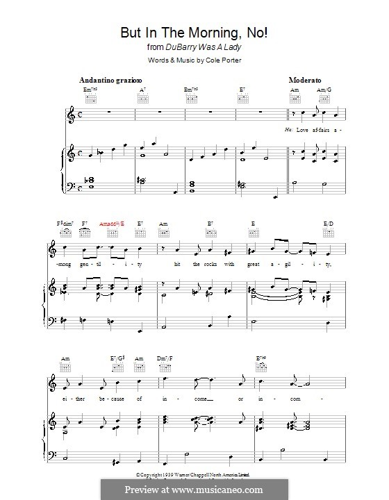 But in the Morning, No!: For voice and piano (or guitar) by Cole Porter