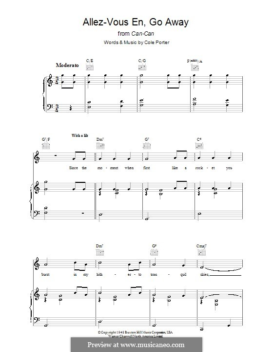 Allez-Vous En, Go Away: For voice and piano (or guitar) by Cole Porter